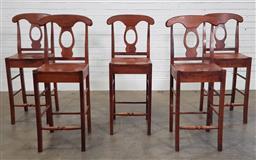 Sale 9191 - Lot 1088 - Set of five bar stools  (h110 x w39 x d38cm)
