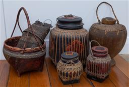Sale 9191H - Lot 11 - A collection of lacquered cane baskets, tallest 38 cm