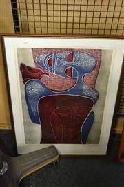 Sale 8453 - Lot 2091 - Lucky Madlo Sibiya - Untitled (Faces) 57 x 40cm