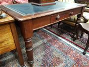 Sale 8774 - Lot 1064 - Late 19th Century Cedar Desk or Library Table, with tooled leather top, a single drawer & turned legs (key in office)