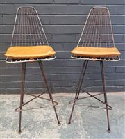 Sale 9002 - Lot 1059 - Pair of Meadmore Barstools, heavy corrosion (h:94cm)