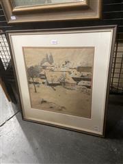 Sale 9091 - Lot 2016 - Jaromir. Stretti-Zamponi Winter Town Scene, aquatint, frame: 54 x5 1 cm, signed lower right -