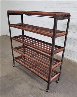 Sale 9151 - Lot 1076 - Early metal & timber 5 tiered cobblers shelf on castors (h132 x w116 x d37cm)