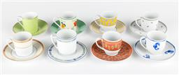 Sale 9255H - Lot 86 - A group of 8 Limoges coffee cups and saucers in various patterns for Christofle and Guy Degrenne.