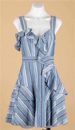 Sale 9250F - Lot 3 - A Sandro, Paris blue & white dress with ruffles, size S.