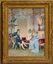 Sale 8325 - Lot 588 - Virgilio Colombo (XIX) - Courting Scene 60 x 38cm