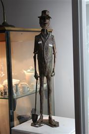 Sale 8346 - Lot 63 - Aurel Ragus Large Copper Sculpture Opal Miner with Stones