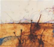 Sale 8484 - Lot 541 - John Olsen (1928 - ) - Giraffes Approaching 52 x 60cm (frame size: 79 x 85cm)
