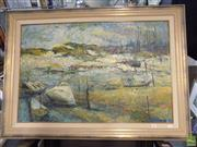 Sale 8561 - Lot 2082 - J Martin Harbour Scene, 1965 oil on board, 59 x 90cm, signed and dated lower right
