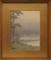 Sale 8678 - Lot 2007 - Y Bangon - Untitled (Lake Scene), watercolour, 32 x 23cm, signed lower left
