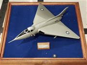 Sale 8809B - Lot 655 - Vintage 1950s Model Jet Fighter in Glass Display Case (45 x 50cm)