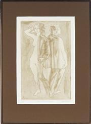 Sale 8838A - Lot 5129 - Louis Kahan (1905 - 2002) - Two walking figures, 1985 40 x 35cm