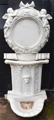 Sale 8950G - Lot 36 - A spectacular marble wall fountain. 1.75m Height 75cm Wide 55cm depth (back of fountain to front of bowl)