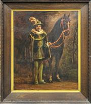 Sale 8964 - Lot 2066 - Artist Unknown A Tudor Artistocrat and His Horse oil on board, 102 x 80cm (frame)