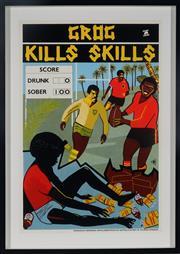 Sale 8992 - Lot 593 - Marie McMahon (1953 - ) - Grog Kills Skills, Football sheetsize: 75 x 50 cm (frame: 88 x 63 x 4 cm)