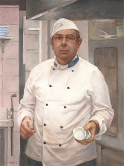 Sale 9116 - Lot 518 - Dinney Birrel Chef at Gam Gam, Venice Ghetto, c2010 oil on linen 67 x 46 cm (frame: 75 x 60 x 4 cm) signed lower left; Provenance: B...