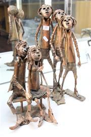 Sale 8346 - Lot 21 - Aurel Ragus Small Copper Sculptures of Children Groups