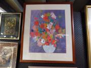 Sale 8429A - Lot 2028 - M Daens - Flower, mixed media, 49 x 39cm, signed lower right