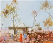 Sale 8484 - Lot 551 - Hugh Sawrey (1919 - 1999) - The Boundary Riders Hut, W. QLD. 28.5 x 33.5cm