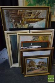 Sale 8497 - Lot 2037 - Group of Eleven Landscape Paintings, majority signed, incl one print A.F.
