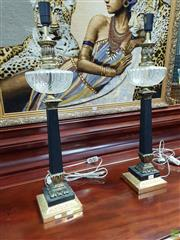 Sale 8576 - Lot 1002 - Pair of Marble & Brass Column Lamp Bases, modelled as antique kerosene lamps with glass fonts