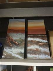 Sale 8595 - Lot 2085 - Marine Oil Dyptich