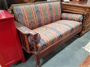 Sale 8700 - Lot 1089 - Timber Framed Two Seater Lounge with Striped Upholstery