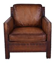 Sale 8957T - Lot 18 - A pair of Formal Box armchairs in a soft hand waxed old saddle leather. Leaning back position. Detailed twin line stud work on arms...