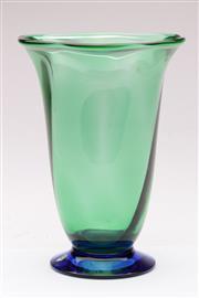 Sale 9070 - Lot 34 - Orrefors crystal green and blue vase (H22cm)