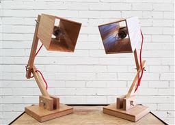 Sale 9137 - Lot 1024 - Pair of timber table lamps (h:48cm)