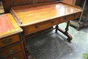 Sale 8335 - Lot 1066 - Good Baltic Pine Side Table, with gallery top, above two drawers stamped Howard and Sons Berners St, on turned double columns with s...