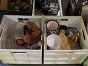 Sale 8582 - Lot 2314 - 2 Crates of Sundries incl. Ceramics, Glasswares, Ladies Bag, etc