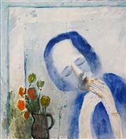 Sale 8616 - Lot 570 - Charles Blackman (1928 - 2018) - Girl with Still Life, 1961 106 x 90.5cm