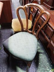 Sale 8601 - Lot 1476 - Pair of Timber Dining Chairs with Green Upholstered Seat & Cabriole Legs to Front