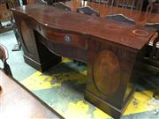 Sale 8666 - Lot 1091 - Good George III Style Mahogany Serpentine Breakfront Sideboard, with central drawer & tambour shutters, flanked by two crosshanded o...