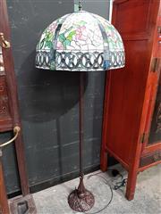 Sale 8717 - Lot 1008 - Leadlight Shade Standard Lamp