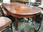 Sale 8868 - Lot 1006 - Victorian Mahogany Extension Dining Table, with two leaves & D shaped ends, on turned reeded legs