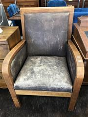 Sale 8868 - Lot 1520 - Pair of Vintage Timber Framed Club Chairs