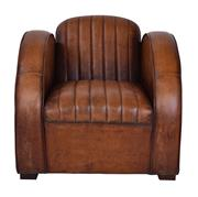 Sale 8957T - Lot 22 - A pair of Round Arm , Retro Art Deco Chair in 'Old Saddle' Top Grain Caramel Leather. Ribbed seat and back inspired by Vintage Car u...