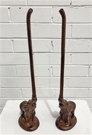 Sale 9063 - Lot 1007 - Pair of Cast Iron Elephant Form Door Stops (h:47cm)
