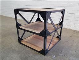 Sale 9137 - Lot 1042 - Industrial style side table (h:60 x w:60 x d:60cm)