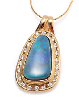 Sale 9213 - Lot 379 - AN 18CT GOLD OPAL AND DIAMOND PENDANT NECKLACE;  featuring a 15.5 x 8.6mm triangular form solid black opal of approx. 5.20ct to surr...
