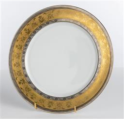 Sale 9255H - Lot 26 - A Christofle La Paiva dinner plate with hand applied 18ct gold and platinum rim in classical design, Diameter 27cm, RRP $650