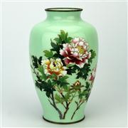 Sale 8285 - Lot 33 - Cloisonne Green Floral Vase