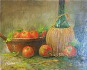 Sale 8312A - Lot 49 - Fernard Lienaux, French School , 1897 - 1980 - Nature Morte aux Pommes unframed 24 x 30 cm