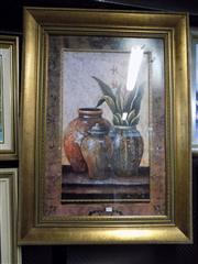 Sale 8437 - Lot 2077 - Framed Decorative Print of Pots