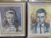 Sale 8557 - Lot 2044 - Louise Cornwall (2 works) Portraits of Mary Louise and Anthony Whelan MBE, 1963, oil on board, 51 x 38.5cm;57 x 42cm, signed lowe...