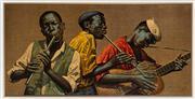 Sale 8703A - Lot 24 - Tretchikoff, Jazz Musicians, frame size 49cm x 92cm, framed print