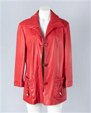Sale 8828F - Lot 33 - A Red Leather Jacket By D. Cavalli, Size XXL