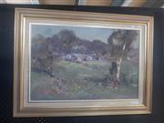 Sale 8833 - Lot 2065 - Allan Hansen - Farmyard 39.5 x 60cm